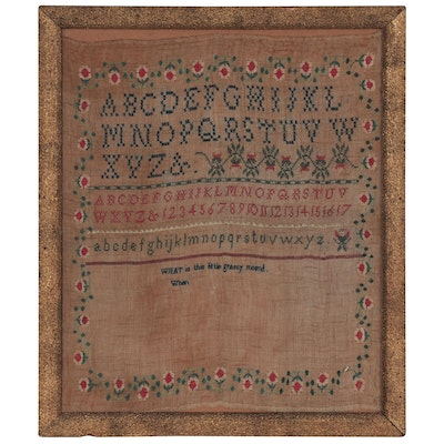 Unfinished Alphabet and Verse Needlework Sampler, Mid to Late 19th Century