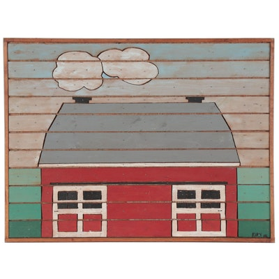 "Folk Art Oil Painting ""The Barn Foxberry Farm,"" 1982"