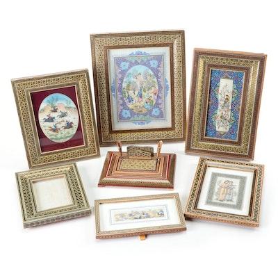 Persian Gouache Paintings in Khatam Frames with Khatam Pen Holder