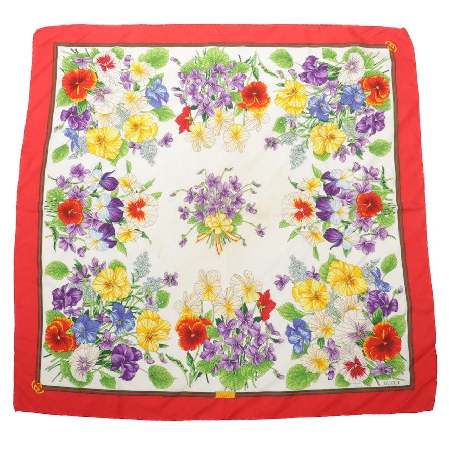 "Gucci ""Viole"" Floral Print Silk Twill Scarf"