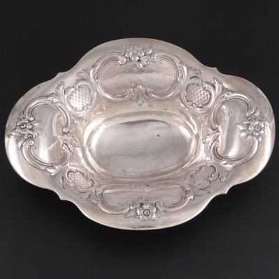 German Baroque Style Repoussé 750 Silver Footed Bowl, Mid-19th Century