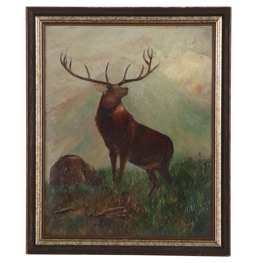 Oil Painting of Stag in Landscape, 1925