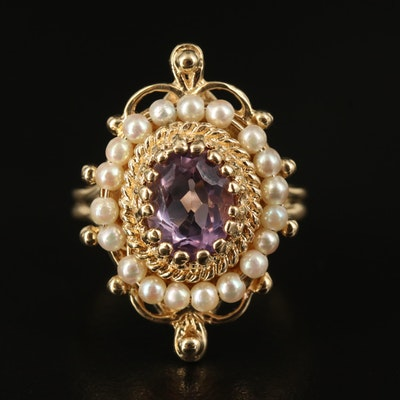 Antique Style 14K Amethyst and Pearl Ring with Rope Accent