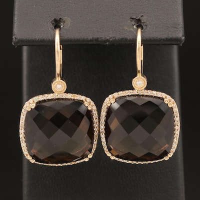 14K Smoky Quartz and Diamond Drop Halo Earrings