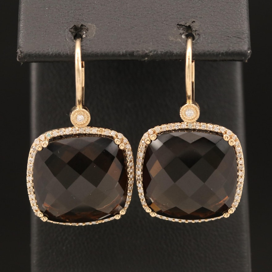 14K Smoky Quartz and Diamond Drop Halo Earrings