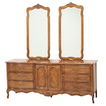Thomasville French Provincial Stye Walnut Dresser with Wall Mount Mirrors