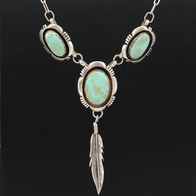 Leonard Nez Navajo Diné Sterling Turquoise Shadowbox Necklace with Feather Drop