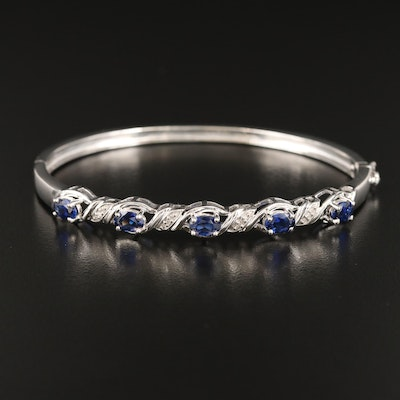 Sterling Sapphire and Diamond Hinged Bangle