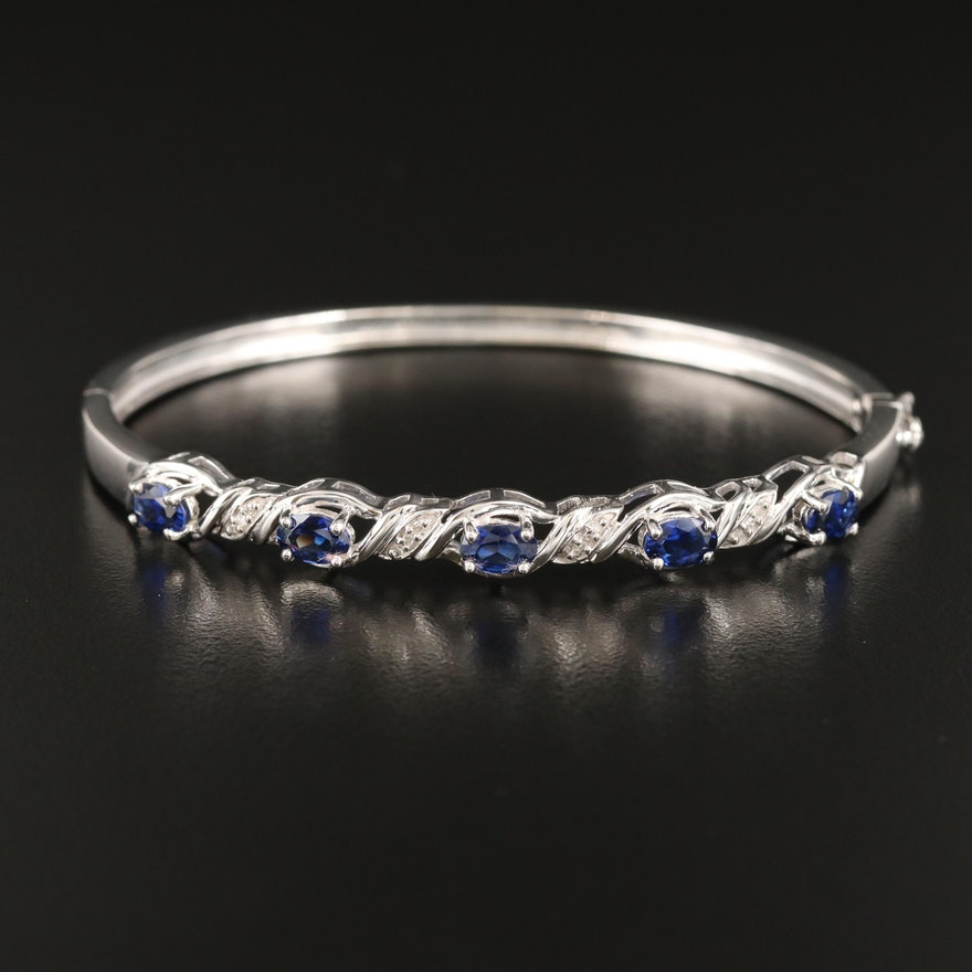 Sterling Sapphire and Diamond Hinged Bangle