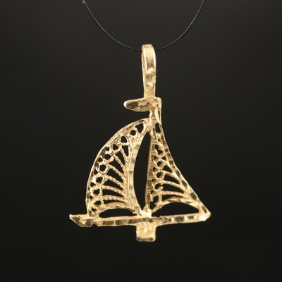 14K Filigree Openwork Sailboat Pendant