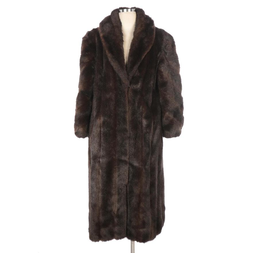 Faux Mink Fur Full-Length Coat with Bracelet Length Sleeves