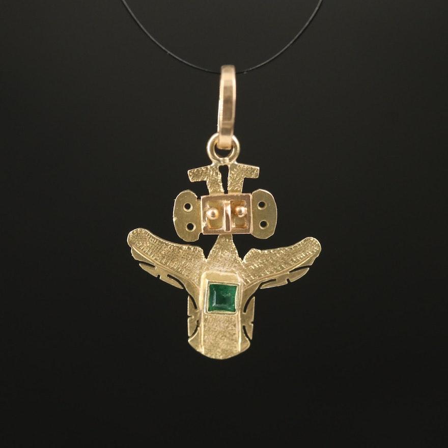 18K Emerald Pre-Columbian Bird Figure Pendant