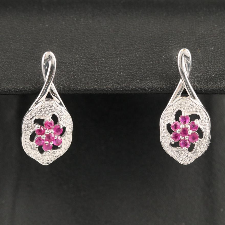Sterling Silver Ruby Floral Drop Earrings