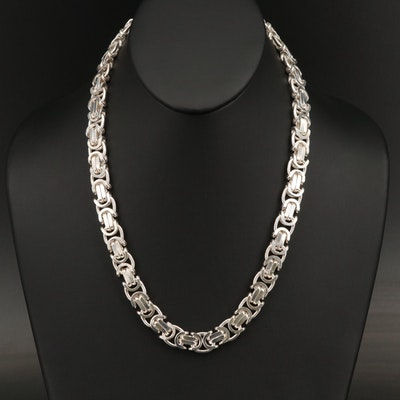 Italian Sterling Silver Flat Byzantine Link Chain Necklace
