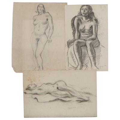 Edgar Yaeger Charcoal Drawings of Female Nudes, 1971 - 1977