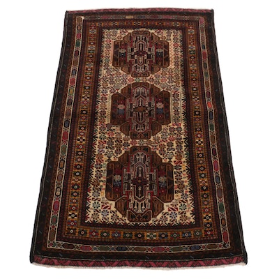 3'5 x 5'10 Hand-Knotted Afghan Baluch Accent Rug