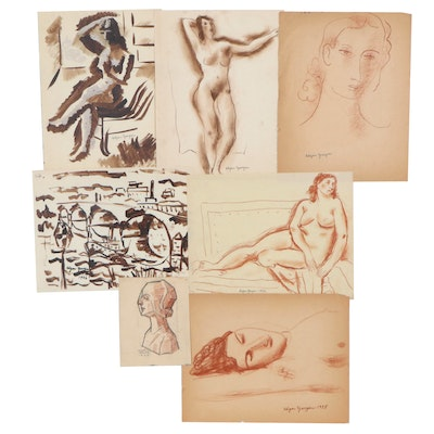 Edgar Yaeger Figural and Landscape Drawings and Paintings