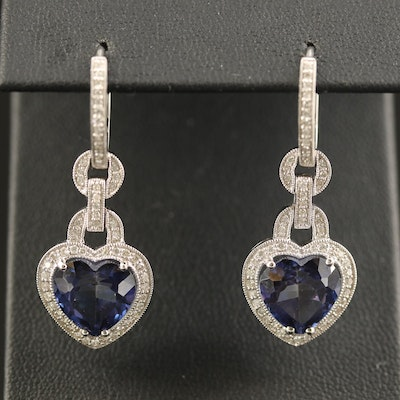 18K Topaz and Diamond Milgrain Heart Dangle Earrings