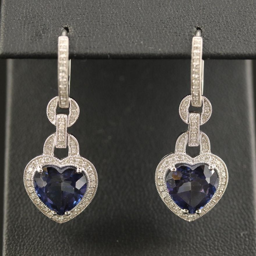 18K Topaz and Diamond Milgrain Heart Dangle Earrings