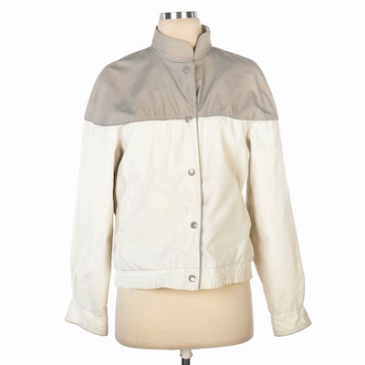 Casual Corner Reversible White and Grey Snap-Front Jacket