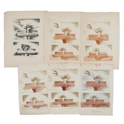 Edgar Yaeger Still Life Lithographs, 1954