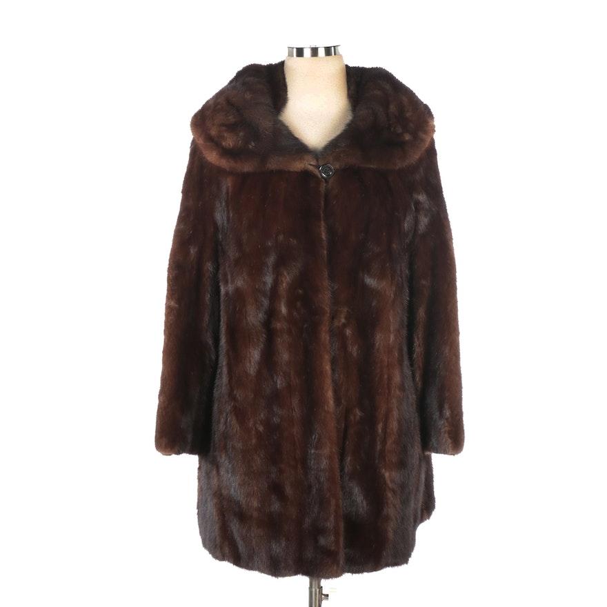 Mahogany Brown Mink Fur Coat with Shawl Collar