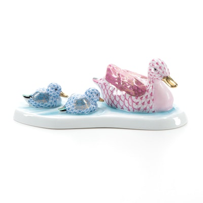 "Herend Raspberry and Blue Fishnet ""Duck and Ducklings"" Porcelain Figurine"