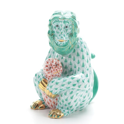 "Herend Green Fishnet ""Mother Monkey with Her Cub"" Porcelain Figurine"