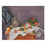 Still Life Oil Painting with Fruit, Mid to Late 20th Century