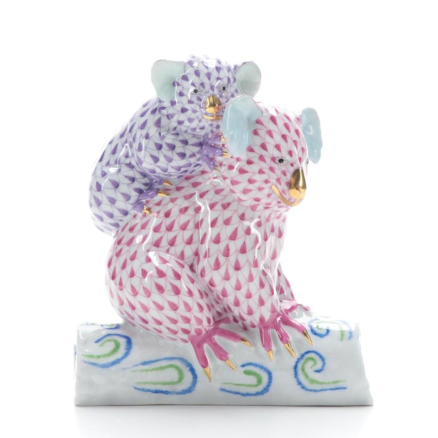"Herend Raspberry and Lavender Fishnet ""Pair of Koalas"" Porcelain Figurine"