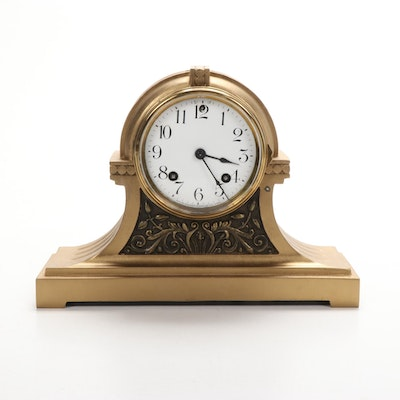 Art Nouveau Ansonia Gilt  Bronze Tambour Mantel Clock, Early 20th Century