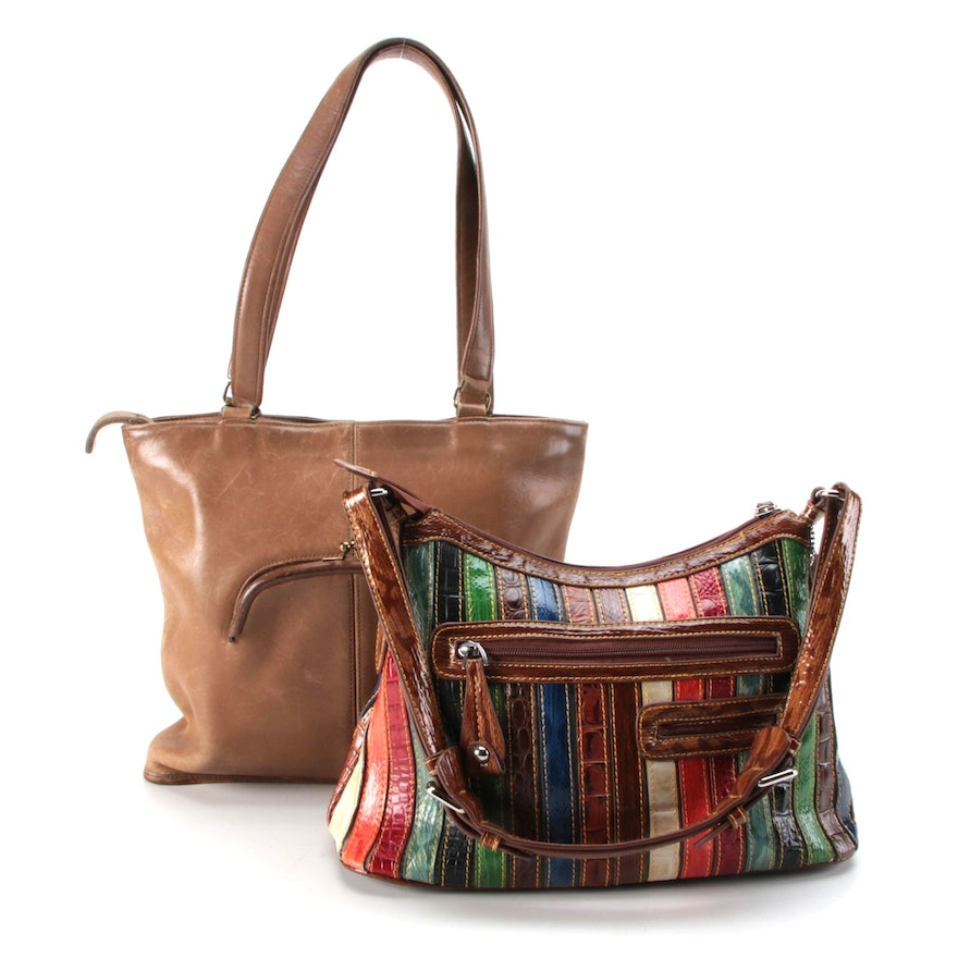 Coach and M.C. Brown Leather and Multicolor Embossed Shoulder Bags
