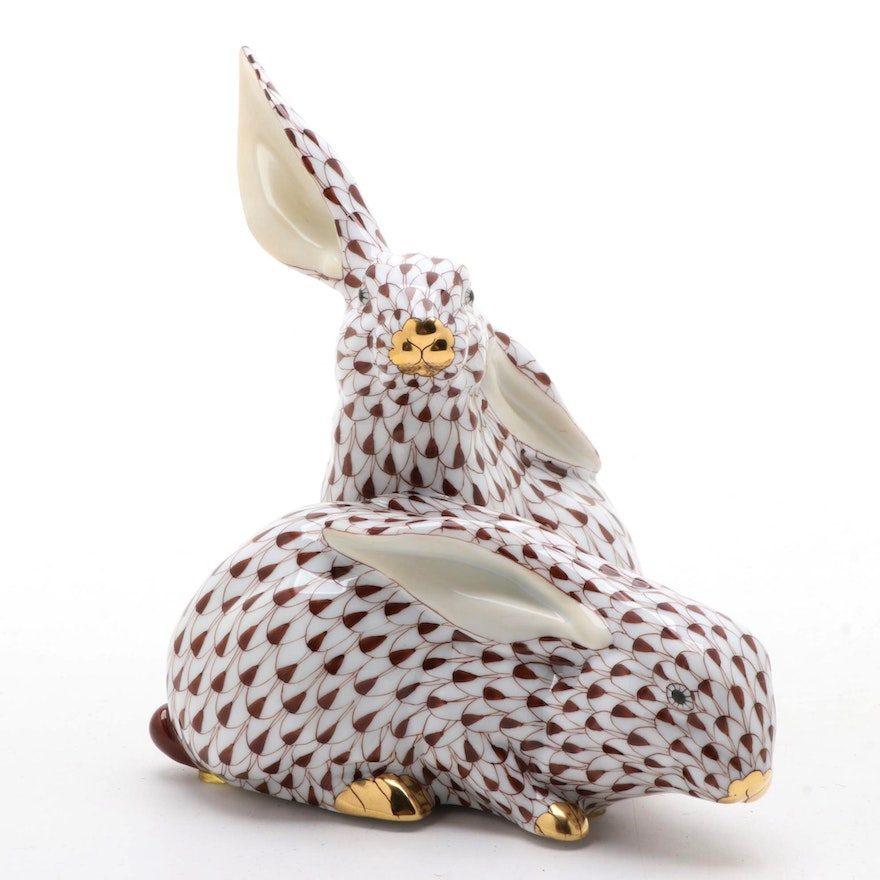 """Herend Chocolate Fishnet with Gold """"Pair of Rabbits"""" Porcelain Figurine"""