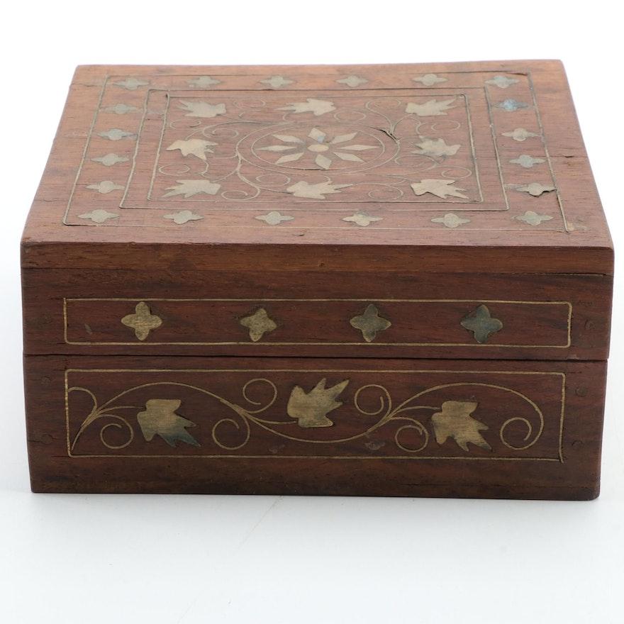 IndianTarkashi Inlay Wooden Box, Late 20th Century