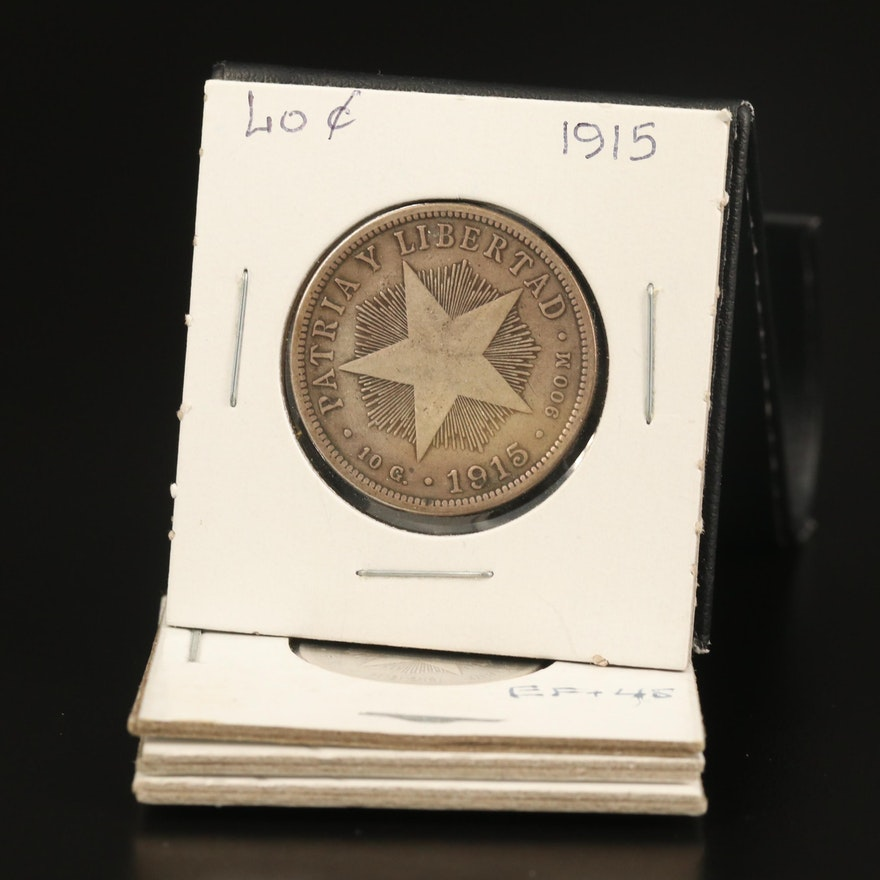 Cuba 20 Centavos and 40 Centavos Silver Coins, 1915 and 1920