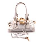 Chloé Paddington Mini Satchel in White Grained Leather