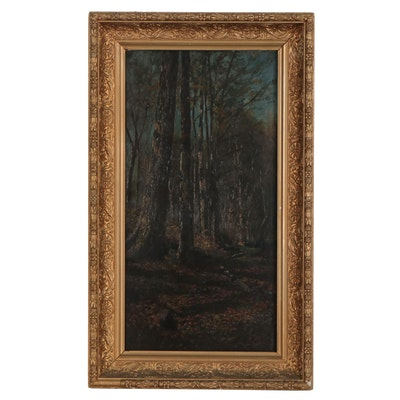 Landscape Oil Painting of Forest, Mid-19th Century