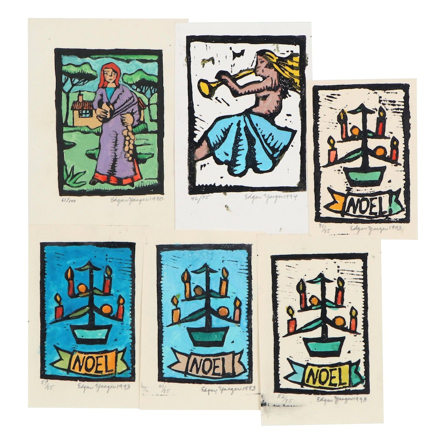 Edgar Yaeger Woodcuts Including Christmas and Figural Designs