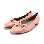 Stuart Weitzman Ballet Flats with Floral Cutouts in Pink Leather