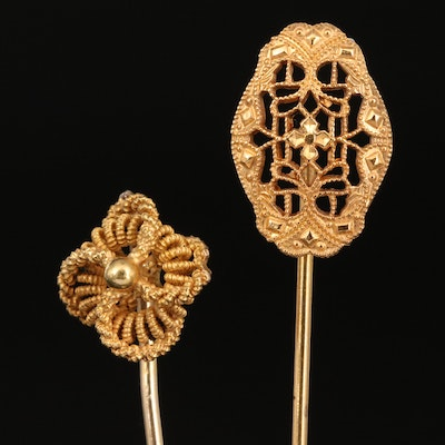 Vintage 14K Knot Stick Pin with Filigree Stick Pin