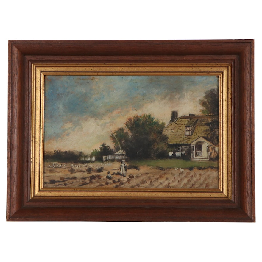 Genre Style Oil Painting of Farmer with Child, Early 20th Century