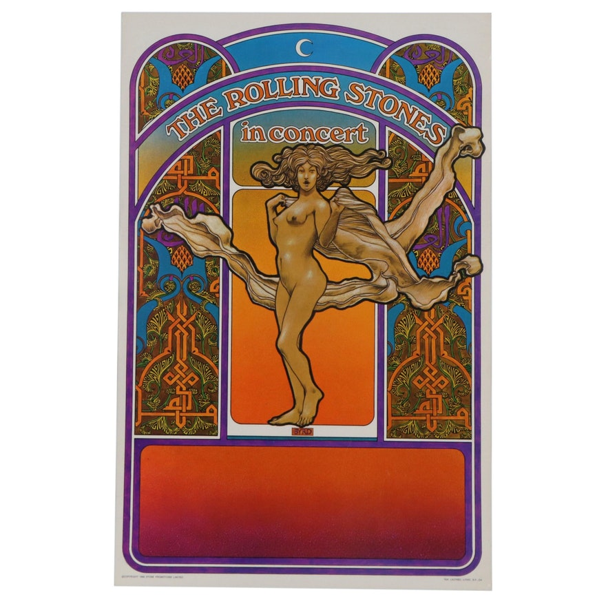 "Tea Lautrec Offset Lithograph Concert Poster ""The Rolling Stones,"" 1969"
