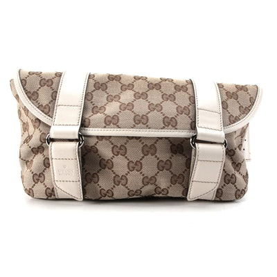 Gucci GG Canvas and Leather Flap Front Belt Bag