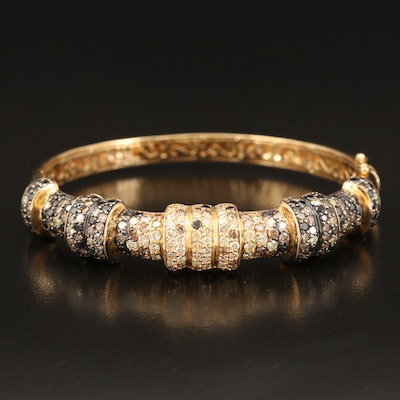 18K 6.00 CTW Pavé Diamond Hinged Bangle