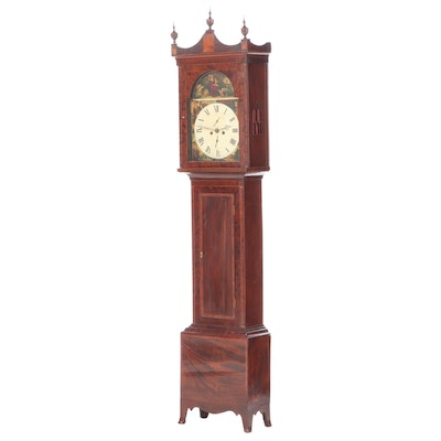 George III Scottish Flame Mahogany Longcase Clock with Barber Pole Inlay