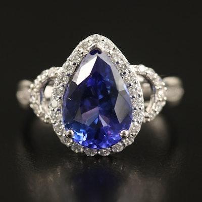 18K 3.32 CT Tanzanite and Diamond Teardrop Ring