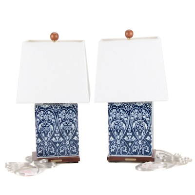 Pair of Ralph Lauren Home Blue and White Ceramic Table Lamps