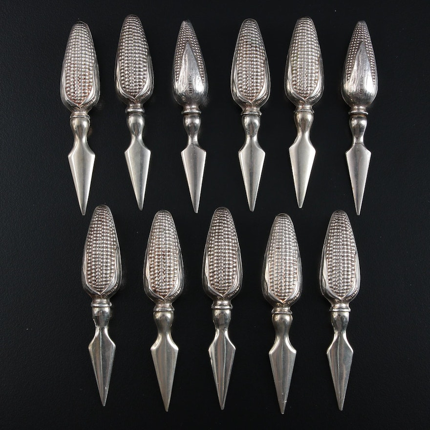 Sterling Silver Corn Holders, Mid to Late 20th Century