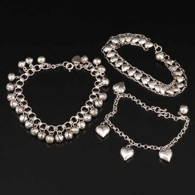 Sterling Bracelets with Hearts and Bells
