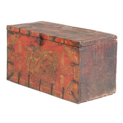 Nepalese Polychrome-Decorated Chest with Dragon Motif, 19th Century